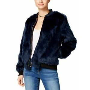{Say What?} Teal Faux Fur Bomber Jacket